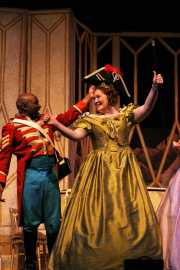 Bass-baritone Frank Ward as Sergeant Sulpice and mezzo-soprano Andrea Coleman as the Marquise, Daughter of the Regiment, Boston Lyric Opera, 2006