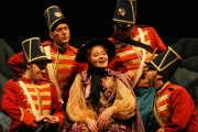 Mezzo-soprano Andrea Coleman as the Marquise with the Regimental Soldiers: Daniel Kamalic, Miles Rind, Gregg Jacobson and Sean Breen, Daughter of the Regiment, Boston Lyric Opera, 2006