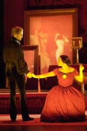 Bass David M. Cushing as Dr. Grenvil and soprano Dina Kuznetsova as Violetta, La Traviata, Boston Lyric Opera, 2006