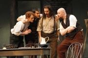 Schaunard (baritone Andrew Garland), Rodolfo (tenor Derek Taylor), Colline (bass-baritone Matthew Burns) and Marcello (baritone Timothy Mix), La Boheme, Boston Lyric Opera, 2007