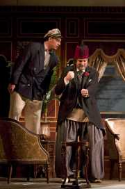 Spanish nobleman Belmonte (Norman Reinhardt, tenor) argues with the Pasha's Turkish watchman, Osmin (David Cushing, bass-baritone), The Abduction from the Seraglio, 2008