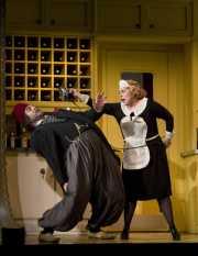 English servant and captive Blonde (Amanda Pabyan, soprano) warns Osmin (David Cushing, bass-baritone) to keep his hands off her, The Abduction from the Seraglio, 2008
