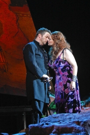 Don José (tenor John Bellemer) and Carmen (mezzo-soprano Dana Beth Miller) share a rare tender moment., Carmen, Boston Lyric Opera, 2009