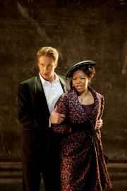 Don Giovanni (baritone Christopher Schaldenbrand) tries to restrain Donna Elvira (soprano Kimwana Doner), Don Giovanni, Boston Lyric Opera, 2009