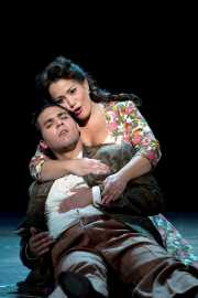 Zerlina (soprano Heather Johnson) consoles her new husband Masetto (baritone Joseph Valone) after his violent encounter with Don Giovanni, Don Giovanni, Boston Lyric Opera, 2009