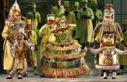 The scientist Spalanzani (tenor Neal Ferreira) shows off his prize creation, the singing and dancing automaton, Olympia (soprano Georgia Jarman), Les contes d'Hoffmann, Boston Lyric Opera, 2009