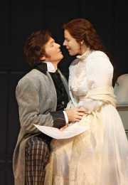 Hoffmann (tenor Gerard Powers) encourages his second love, the sickly Antonia (soprano Georgia Jarman), to make a major sacrifice, Les contes d'Hoffmann, Boston Lyric Opera, 2009