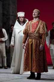 The Greek king Idomeneo (tenor Jason Collins) confesses to the High Priest (tenor Neal Ferreira) that he is responsible for the wrath Neptune has inflicted on his people, Idomeneo re di Creta, Boston Lyric Opera, 2010