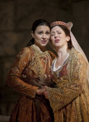 The star-crossed lovers Idamante (mezzo-soprano Sandra Piques Eddy) and Ilia (soprano Camille Zamora) share a bittersweet moment before Idamante heads off to battle, Idomeneo re di Creta, Boston Lyric Opera, 2010