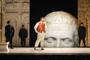 Nerone (Countertenor David Trudgen) muses about his assumed appointment as the next Emperor while sinister servants look on. Busts of Caesar appear frequently in the scenery as a representation of the Roman Empire. Photo taken at final dress rehearsal of BLO's Agrippina by Jeffrey Dunn for Boston Lyric Opera © 2011