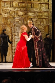 Agrippina (Soprano Caroline Worra), continues her campaign to convince her hushand, Roman Emperor Claudio (Bass-Baritone Christian Van Horn) to name her son Nerone the next Emperor. Photo taken at final dress rehearsal of BLO's Agrippina by Jeffrey Dunn for Boston Lyric Opera © 2011