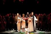 The final scene of Boston Lyric Opera's Macbeth. Richard Crawley (Macduff), Darren K. Stokes (Banquo), John Irvin (Malcolm), Domenico Mastrototoro (Duncan), Louise Hamill (Lady Macduff), Carter Scott (Lady Macbeth), with Elijah Jean-Pierre (Fleance) and members of the BLO Chorus., Macbeth, Boston Lyric Opera, 2011
