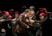Daniel Sutin (Macbeth) with members of the BLO Chorus, Macbeth, Boston Lyric Opera, 2011