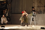 Soldier Girl (Kathryn Skemp, soprano) rebels against the war and embraces love by kissing A Solider (tenor Julius Ahn) as a pleased Harlequin tenor John Mac Master) and a horrified Drummer (Jamie Van Eyck, mezzo-soprano) look on, 2011