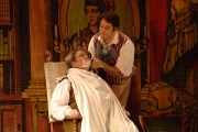Baritone Steven Condy as Dr. Bartolo and Baritone Jonathan Beyer as Figaro in Boston Lyric Opera's The Barber of Seville., 2012