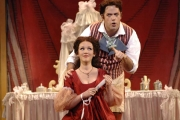 Soprano Sarah Coburn as Rosina and Baritone Jonathan Beyer as Figaro in Boston Lyric Opera's The Barber of Seville, 2012