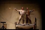 "Tenor Neal Ferreira as Tancredi and baritone David Kravitz as Cosimo in Boston Lyric Opera's production of John Musto's ""The Inspector."", 2012"