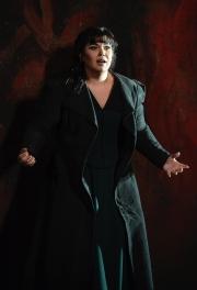 Guilty over her infidelity, Kátya (Elaine Alvarez) descends into madness in Boston Lyric Opera's production of Kátya Kabanová, composed by Leoš Janáček. 2015