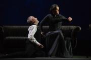 (l.-r.) James Demler as Dikoy learns about discipline from Kabanicha (Elizabeth Byrne) in Boston Lyric Opera's production of Kátya Kabanová, composed by Leoš Janáček. 2015