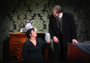 (l.-r.) Fearing what may happen during her husband's departure, Kátya (Elaine Alvarez) implores Tichon (Alan Schneider) to lay down some rules for her while he is away in Boston Lyric Opera's production of Kátya Kabanová, composed by Leoš Janáček. 2015