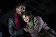 "(l.-r.) Rodolfo (Jesus Garcia) and Mimi (Kelly Kaduce) reunite in the face of her failing health in Boston Lyric Opera's new production of ""La Bohème,"" directed by Rosetta Cucchi in her U.S. debut and running Oct 2-11 at the Citi Performing Arts Center Shubert Theatre in Boston"