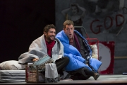 """(l.-r.) Rodolfo (Jesus Garcia) and Marcello (Jonathan Beyer) lament the life of talented young artists in 1960s Paris in Boston Lyric Opera's new production of """"La Bohème,"""" directed by Rosetta Cucchi in her U.S. debut and running Oct 2-11 at the Citi Performing Arts Center Shubert Theatre in Boston"""