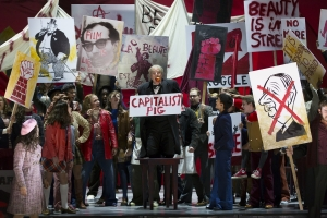 """(l.-r.) To the chagrin of state councilor Alcindoro (the internationally acclaimed James Madaelena) revolution foments on the streets of 1960s in Boston Lyric Opera's new production of """"La Bohème,"""" directed by Rosetta Cucchi in her U.S. debut and running Oct 2-11 at the Citi Performing Arts Center Shubert Theatre in Boston"""