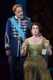 John Tessier, as Camille de Rosillon, and Chelsea Basler, as Valencienne Zeta, in Boston Lyric Opera's new production of The Merry Widow running April 29-May 8 at the Citi Shubert Theater.