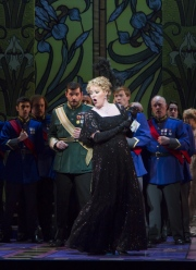Erin Wall, as Hanna Glawari, surrounded by ensemble in Boston Lyric Opera's new production of The Merry Widow running April 29-May 8 at the Citi Shubert Theater.