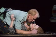"""After being seduced by the flamboyant gypsy he was supposed to arrest, Don Jose (Roger Honeywell) shares a passionate moment with Carmen (Jennifer Johnson Cano) in Boston Lyric Opera's production of Georges Bizet's """"Carmen"""" directed by Calixto Bieito. """"Carmen"""" opens BLO's 40th Season, at the Boston Opera House through October 2."""