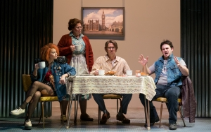 """(l.-r.) Amanda Crider, Caroline Worra, Christopher Burchett and Marcus Farnsworth as a """"normal"""" 1980s family in East End London in the Boston Lyric Opera production of Mark Anthony Turnage's GREEK, running Nov 16-20 at the Emerson/Paramount Center."""