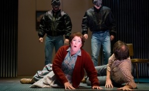 Caroline Worra plays a woman who fears rampant violence in her London neighborhood in the Boston Lyric Opera production of Mark Anthony Turnage's GREEK, running Nov 16-20 at the Emerson/Paramount Center.