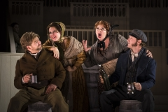 DEADLY QUARTET -- (l.-r.) William Hare (Craig Colclough), his wife Margaret (Heather Gallagher), Helen McDougal (Michelle Trainor) and her lover William Burke (Jesse Blumberg) contemplate a better life through nefarious means in Boston Lyric Opera's world premiere production of THE NEFARIOUS, IMMORAL BUT HIGHLY PROFITABLE ENTERPRISE of MR. BURKE and MR. HARE by composer Julian Grant and librettist Mark Campbell. Runs Nov 8-12; details at BLO.org.