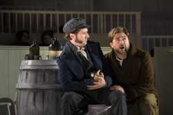 BETTER TIMES -- (l.-r.) Burke (Jesse Blumberg) and Hare (Craig Colclough) imagine growing their business in Boston Lyric Opera's world premiere production of THE NEFARIOUS, IMMORAL BUT HIGHLY PROFITABLE ENTERPRISE of MR. BURKE and MR. HARE by composer Julian Grant and librettist Mark Campbell. Runs Nov 8-12; details at BLO.org.