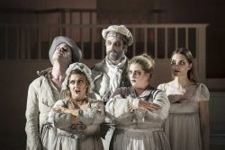 VICTIMS -- (l.r.) The five victims of Burke & Hare – Daft Jamie (Michael Slattery), Abigail Simpson (Marie McLaughlin), Donald (David Cushing), Madge Docherty (Antonia Tamer), and Mary Paterson (Emma Sorenson), return to haunt the people responsible for their untimely deaths in Boston Lyric Opera's world premiere production of THE NEFARIOUS, IMMORAL BUT HIGHLY PROFITABLE ENTERPRISE of MR. BURKE and MR. HARE by composer Julian Grant and librettist Mark Campbell. Runs Nov 8-12; details at BLO.org.