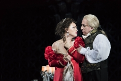 Tosca (Elena Stikhina) submits to Scarpia to save the life of her true love in the Boston Lyric Opera production of TOSCA, running Oct 13-22 at the Cutler Emerson Majestic Theater. Tickets BLO.org.