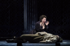 Tosca (Elena Stikhina) screams in agony upon discovering her lover Cavaradossi (Jonathan Burton) shot dead by a firing squad in the Boston Lyric Opera production of TOSCA, running Oct 13-22 at the Cutler Emerson Majestic Theater. Tickets BLO.org.