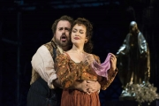 Cavaradossi (Jonathan Burton) assures Tosca (Elena Stikhina) that he loves her in the Boston Lyric Opera production of TOSCA, running Oct 13-22 at the Cutler Emerson Majestic Theater. Tickets BLO.org.