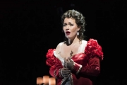 Tosca (Elena Stikhina) ruminates on why her life of good deeds is being punished by injustice in the Boston Lyric Opera production of TOSCA, running Oct 13-22 at the Cutler Emerson Majestic Theater. Tickets BLO.org.