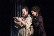 After bribing Scarpia to ensure their escape from Rome, Tosca (Elena Stikhina) shows Cavaradossi (Jonathan Burton) the letter of safe passage in the Boston Lyric Opera production of TOSCA, running Oct 13-22 at the Cutler Emerson Majestic Theater. Tickets BLO.org.