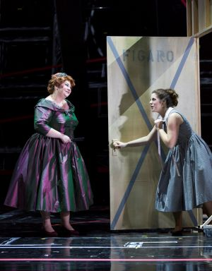 "(l.-r.) Marcellina (Michelle Trainor) proves vexing to Susanna (Emily Birsan) in Boston Lyric Opera's new production of ""The Marriage of Figaro"" running through May 7 at John Hancock Hall"