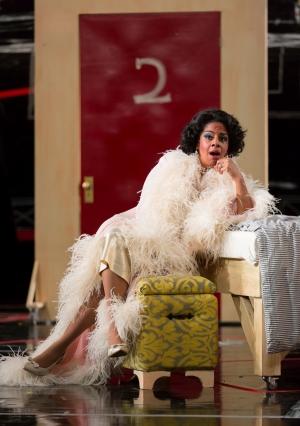 "Countess Almaviva (Nicole Heaston) schemes a way to trap her husband in his lying ways in Boston Lyric Opera's new production of ""The Marriage of Figaro"" running through May 7 at John Hancock Hall"