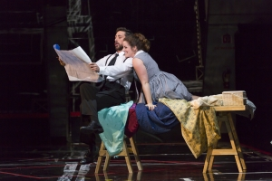 "Susanna (Emily Birsan) and Figaro (Evan Hughes) in Boston Lyric Opera's new production of ""The Marriage of Figaro"" running through May 7 at John Hancock Hall"