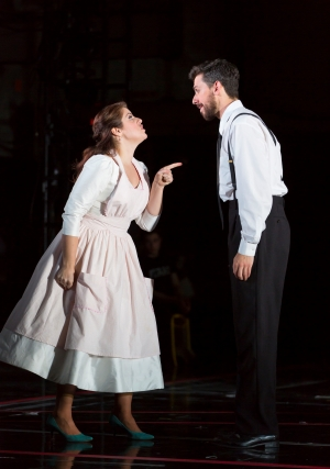 """Susanna (Emily Birsan) loses her temper when she thinks Figaro (Evan Hughes) has been promised to another woman on their wedding day in Boston Lyric Opera's new production of """"The Marriage of Figaro"""" running through May 7 at John Hancock Hall"""