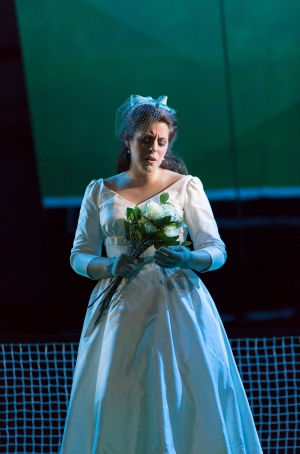 """Susanna (Emily Birsan) has a contemplative moment after her joyous wedding in Boston Lyric Opera's new production of """"The Marriage of Figaro"""" running through May 7 at John Hancock Hall"""
