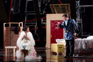 "Count Almaviva (David Pershall, r.) admonishes Countess Almaviva (Nicole Heaston) for allegedly having an affair in Boston Lyric Opera's new production of ""The Marriage of Figaro"" running through May 7 at John Hancock Hall"