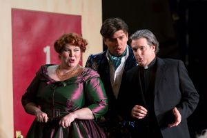 """(l.-r.) Marcellina (Michelle Trainor), Count Almaviva (David Pershall) and Don Curzio (Brad Raymond) concoct a scheme in Boston Lyric Opera's new production of """"The Marriage of Figaro"""" running through May 7 at John Hancock Hall"""