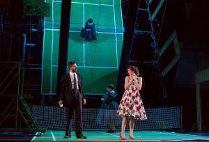 "Figaro (Evan Hughes, l.) advises young Barbarina (Sara Womble) who pines for the Cherubino in Boston Lyric Opera's new production of ""The Marriage of Figaro"" running through May 7 at John Hancock Hall"
