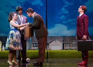 (l.-r.) Anne Trulove (Anya Matanovic) and her father Trulove (David Cushing) say goodbye to Tom Rakewell (Ben Bliss) while Nick Shadow (Kevin Burdette) looks on in Boston Lyric Opera's new production of Stravinsky's THE RAKES PROGRESS, running through March 19 at the Emerson Majestic Theater