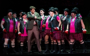 Tom Rakewell (Ben Bliss, center left) meets a band of London hooligans who take him on the first steps of his downfall in Boston Lyric Opera's new production of Stravinsky's THE RAKES PROGRESS, running through March 19 at the Emerson Majestic Theater